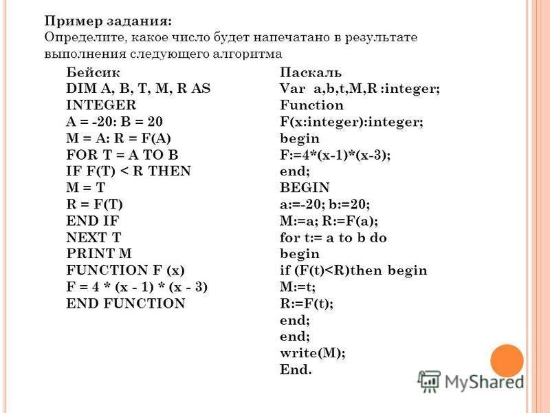 Пример задания: Определите, какое число будет напечатано в результате выполнения следующего алгоритма Бейсик Паскаль Бейсик DIM A, B, T, M, R AS INTEGER A = -20: B = 20 M = A: R = F(A) FOR T = A TO B IF F(T) < R THEN M = T R = F(T) END IF NEXT T PRIN