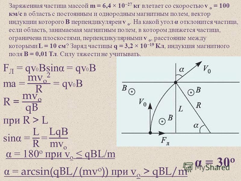 Заряженная частица массой m = 6,4 × 10 27 кг влетает со скоростью v o = 100 км / с в область с постоянным и однородным магнитным полем, вектор индукции которого В перпендикулярен v o. На какой угол α отклонится частица, если область, занимаемая магни