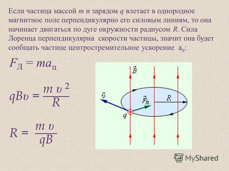 Если частица массой m и зарядом q влетает в однородное магнитное поле перпендикулярно его силовым линиям, то она начинает двигаться по дуге окружности радиусом R. Сила Лоренца перпендикулярна скорости частицы, значит она будет сообщать частице центро