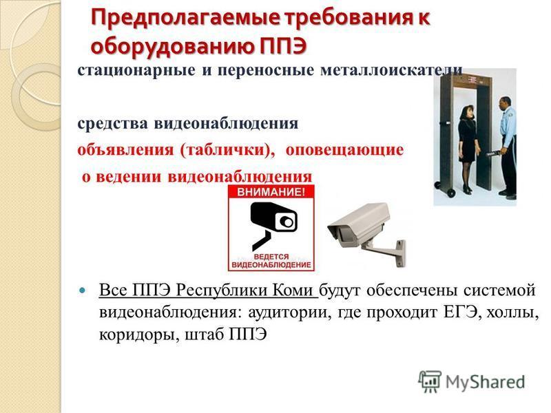 Предполагаемые требования к оборудованию ППЭ стационарные и переносные металлоискатели средства видеонаблюдения объявления (таблички), оповещающие о ведении видеонаблюдения Все ППЭ Республики Коми будут обеспечены системой видеонаблюдения: аудитории,