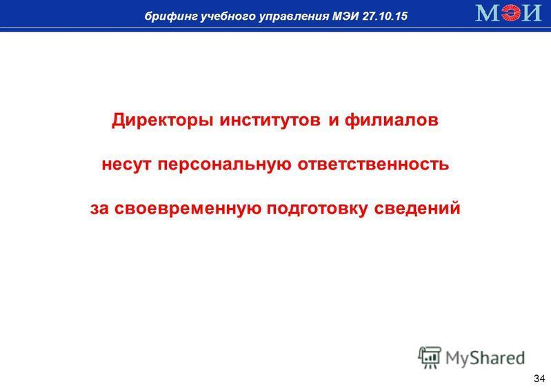 брифинг учебного управления МЭИ 27.10.15 34 Директоры институтов и филиалов несут персональную ответственность за своевременную подготовку сведений