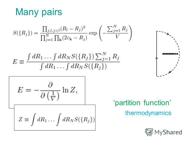 Many pairs partition function thermodynamics