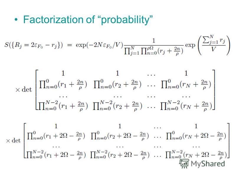 Factorization of probability