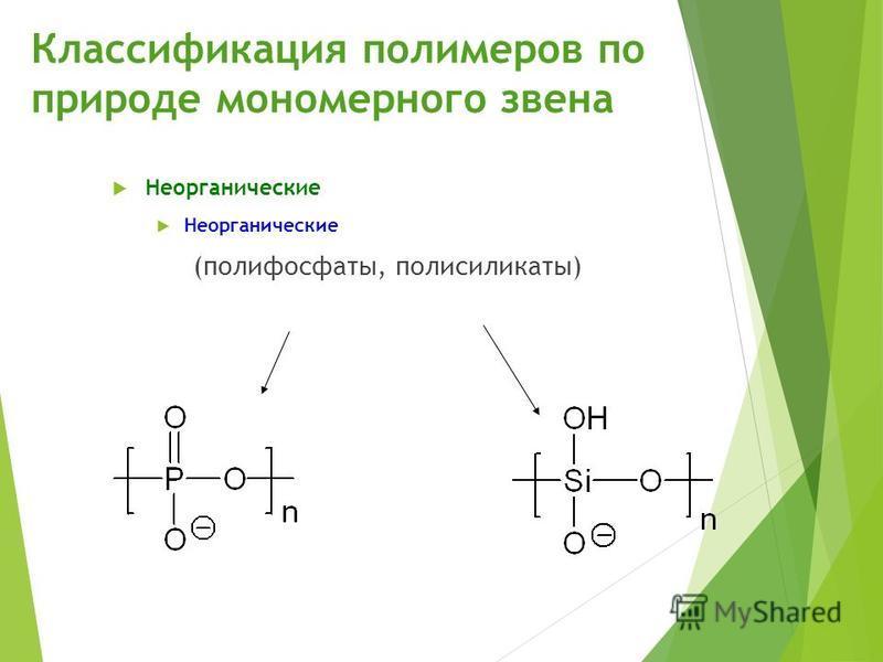 Классификация полимеров по природе мономерного звена Неорганические (полифосфаты, полисиликаты) 11