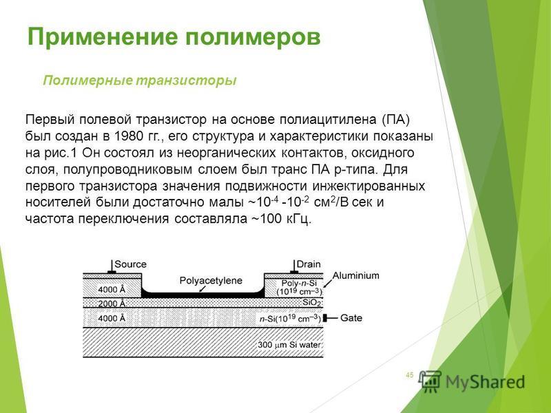 Полимерные транзисторы Первый полевой транзистор на основе полиацитилена (ПА) был создан в 1980 гг., его структура и характеристики показаны на рис.1 Он состоял из неорганических контактов, оксидного слоя, полупроводниковым слоем был транс ПА р-типа.