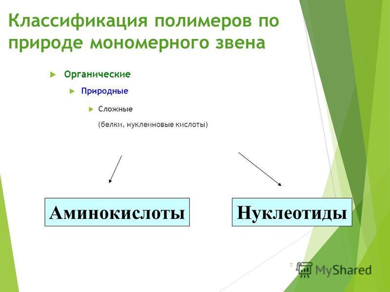 Классификация полимеров по природе мономерного звена Органические Природные Сложные (белки, нуклеиновые кислоты) Аминокислоты Нуклеотиды 7