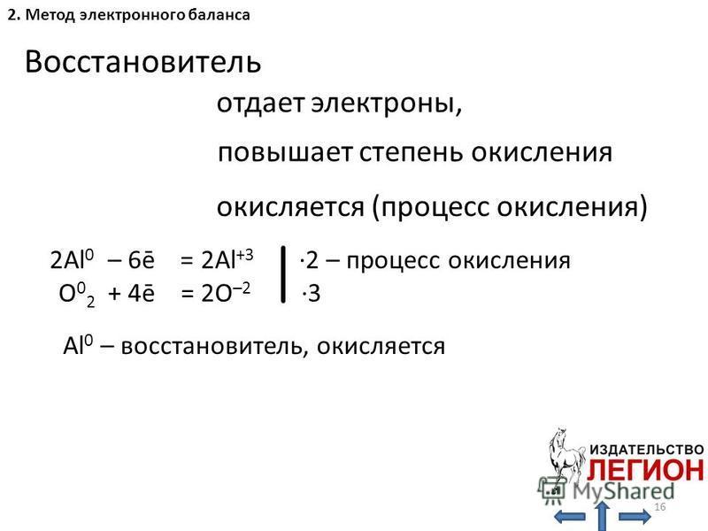 2. Метод электронного баланса Восстановитель отдает электроны, окисляется (процесс окисления) повышает степень окисления 2Al 0 – 6ē = 2Al +3 ·2 – процесс окисления O 0 2 + 4ē = 2O –2 ·3 Al 0 – восстановитель, окисляется 16