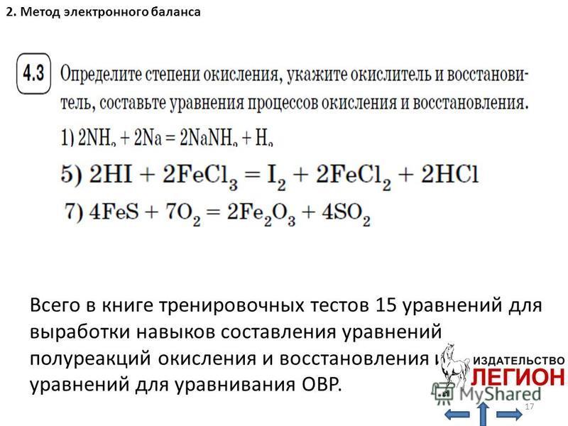 2. Метод электронного баланса Всего в книге тренировочных тестов 15 уравнений для выработки навыков составления уравнений полуреакций окисления и восстановления и 26 уравнений для уравнивания ОВР. 17