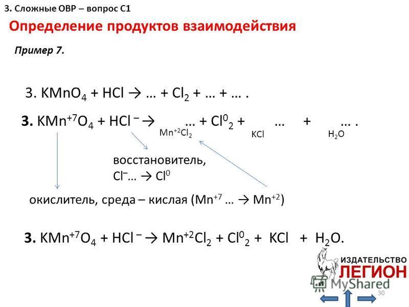 Определение продуктов взаимодействия окислитель, среда – кислая (Mn +7 … Mn +2 ) восстановитель, Cl – … Cl 0 3. KMnO 4 + HCl … + Cl 2 + … + …. 3. KMn +7 O 4 + HCl – … + Cl 0 2 + … + …. Mn +2 Cl 2 KCl H2OH2O 3. KMn +7 O 4 + HCl – Mn +2 Cl 2 + Cl 0 2 +