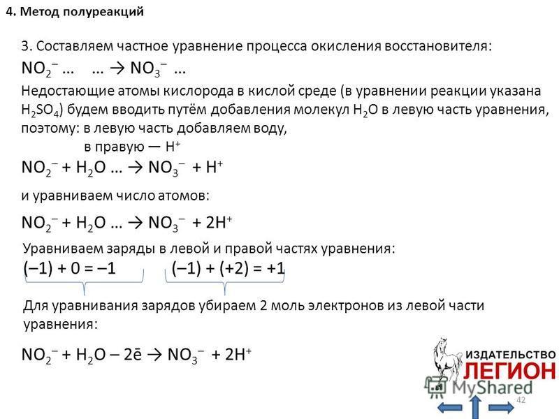 3. Составляем частное уравнение процесса окисления восстановителя: NO 2 – … … NO 3 – … Недостающие атомы кислорода в кислой среде (в уравнении реакции указана H 2 SO 4 ) будем вводить путём добавления молекул H 2 O в левую часть уравнения, поэтому: в