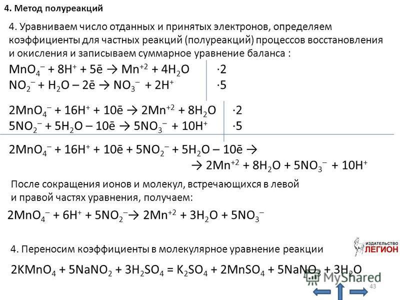 NO 2 – + H 2 O – 2ē NO 3 – + 2H + 4. Уравниваем число отданных и принятых электронов, определяем коэффициенты для частных реакций (полуреакций) процессов восстановления и окисления и записываем суммарное уравнение баланса : MnO 4 – + 8H + + 5ē Mn +2