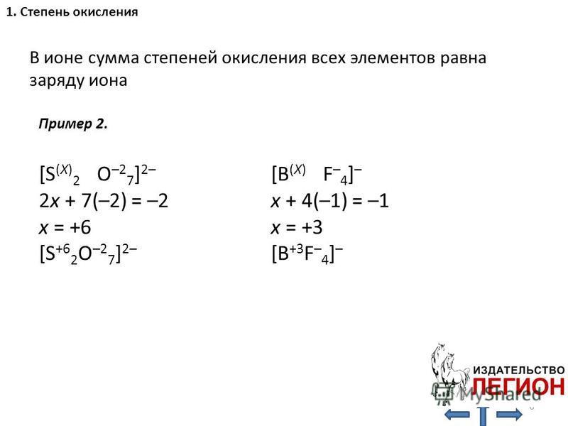 В ионе сумма степеней окисления всех элементов равна заряду иона 1. Степень окисления [S (X) 2 O –2 7 ] 2– 2x + 7(–2) = –2 x = +6 [S +6 2 O –2 7 ] 2– [B (X) F – 4 ] – x + 4(–1) = –1 x = +3 [B +3 F – 4 ] – 6 Пример 2.