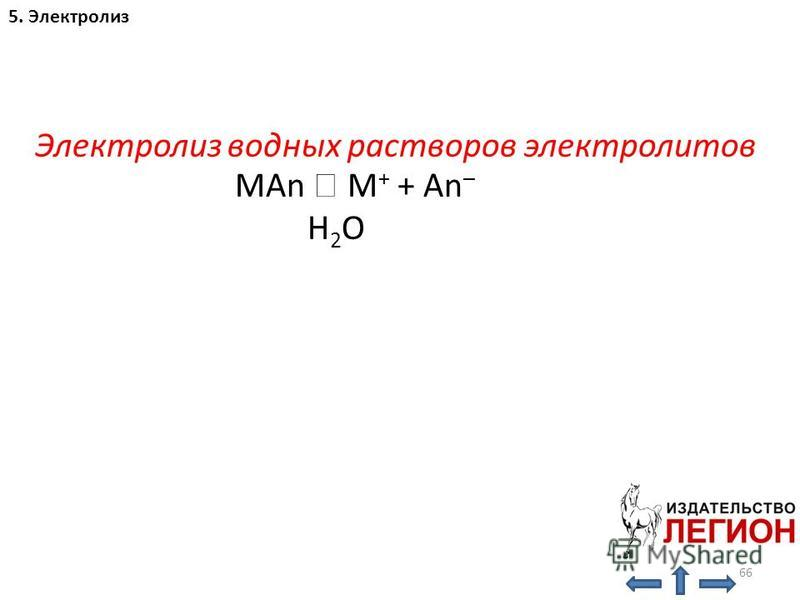 66 Электролиз водных растворов электролитов 5. Электролиз MAn M + + An – H 2 O