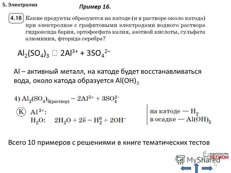 71 5. Электролиз Всего 10 примеров с решениями в книге тематических тестов Пример 16. Al 2 (SO 4 ) 3 2Al 3+ + 3SO 4 2– Al – активный металл, на катоде будет восстанавливаться вода, около катода образуется Al(OH) 3
