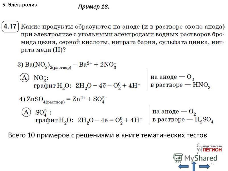 75 5. Электролиз Пример 18. Всего 10 примеров с решениями в книге тематических тестов