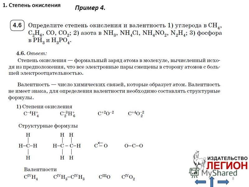 1. Степень окисления 8 Пример 4.