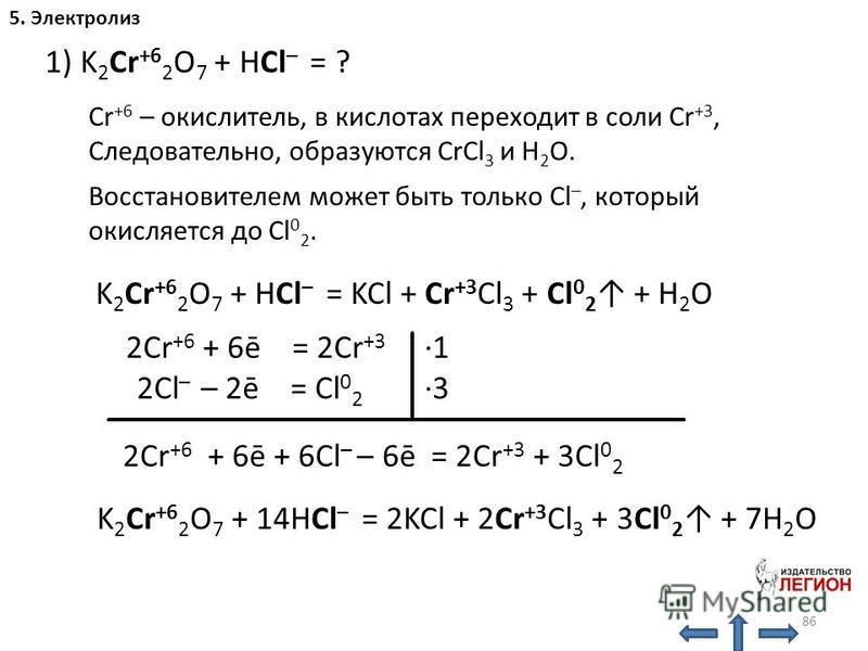 86 5. Электролиз 1) K 2 Cr +6 2 O 7 + HCl – = ? K 2 Cr +6 2 O 7 + HCl – = KCl + Cr +3 Cl 3 + Cl 0 2 + H 2 O Cr +6 – окислитель, в кислотах переходит в соли Cr +3, Следовательно, образуются CrCl 3 и H 2 O. Восстановителем может быть только Cl –, котор