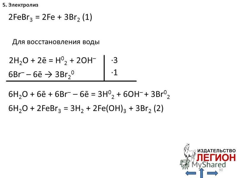 90 5. Электролиз H 2 O: ·3 ·1 2FeBr 3 = 2Fe + 3Br 2 (1) 2H 2 O + 2ē = H 0 2 + 2OH – 6Br – – 6ē 3Br 2 0 6H 2 O + 6ē + 6Br – – 6ē = 3H 0 2 + 6OH – + 3Br 0 2 6H 2 O + 2FeBr 3 = 3H 2 + 2Fe(OH) 3 + 3Br 2 (2) Для восстановления воды