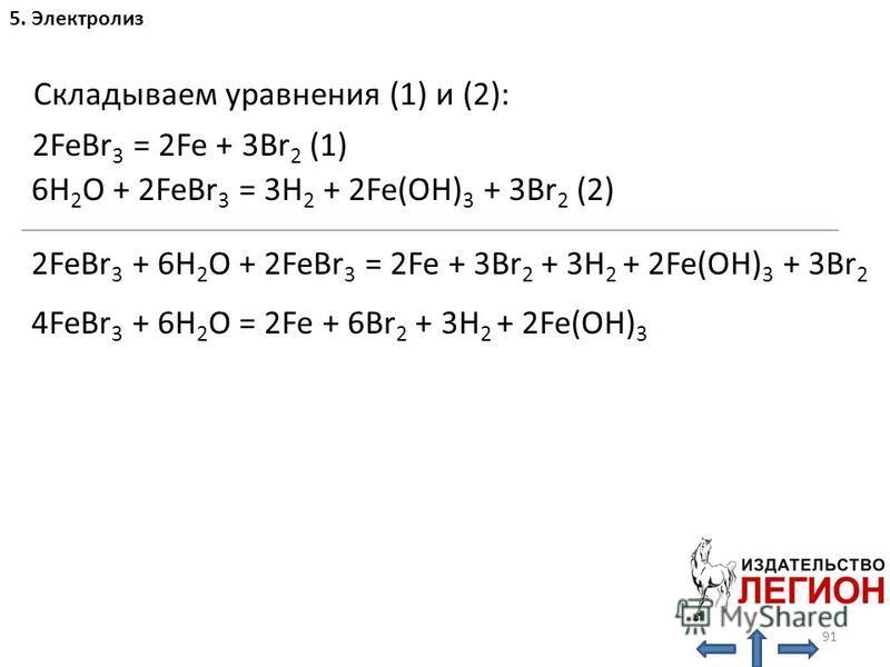 91 5. Электролиз H 2 O: 2FeBr 3 = 2Fe + 3Br 2 (1) 6H 2 O + 2FeBr 3 = 3H 2 + 2Fe(OH) 3 + 3Br 2 (2) Складываем уравнения (1) и (2): 2FeBr 3 + 6H 2 O + 2FeBr 3 = 2Fe + 3Br 2 + 3H 2 + 2Fe(OH) 3 + 3Br 2 4FeBr 3 + 6H 2 O = 2Fe + 6Br 2 + 3H 2 + 2Fe(OH) 3