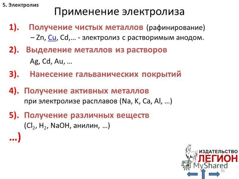 95 Применение электролиза Получение чистых металлов (рафинирование) – Zn, Cu, Cd,… - электролиз с растворимым анодом.Cu 1). 2). 3). 4). 5). …) Выделение металлов из растворов Ag, Cd, Au, … Нанесение гальванических покрытий Получение активных металлов