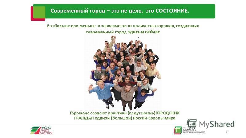 Современный город – это не цель, это СОСТОЯНИЕ. 3 Его больше или меньше в зависимости от количества горожан, создающих современный город здесь и сейчас Горожане создают практики (ведут жизнь)ГОРОДСКИХ ГРАЖДАН единой (большой) России-Европы-мира
