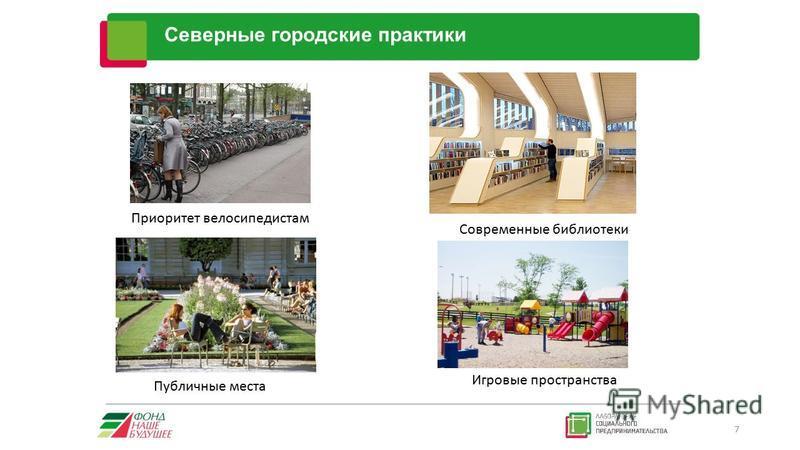 Северные городские практики 7 Приоритет велосипедистам Современные библиотеки Публичные места Игровые пространства