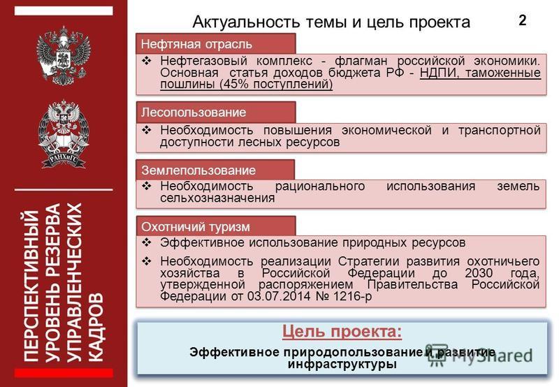 Актуальность темы и цель проекта 2 Нефтяная отрасль Нефтегазовый комплекс - флагман российской экономики. Основная статья доходов бюджета РФ - НДПИ, таможенные пошлины (45% поступлений) Охотничий туризм Эффективное использование природных ресурсов Не