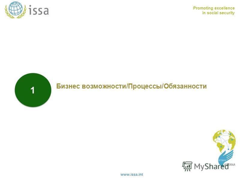Promoting excellence in social security www.issa.int 1 1 Бизнес возможности/Процессы/Обязанности