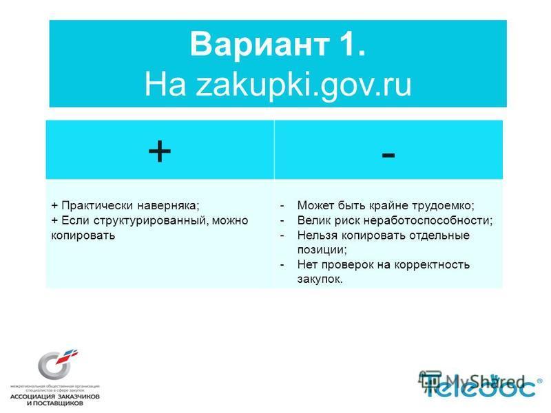 Вариант 1. На zakupki.gov.ru +- + Практически наверняка; + Если структурированный, можно копировать -Может быть крайне трудоемко; -Велик риск неработоспособности; -Нельзя копировать отдельные позиции; -Нет проверок на корректность закупок.