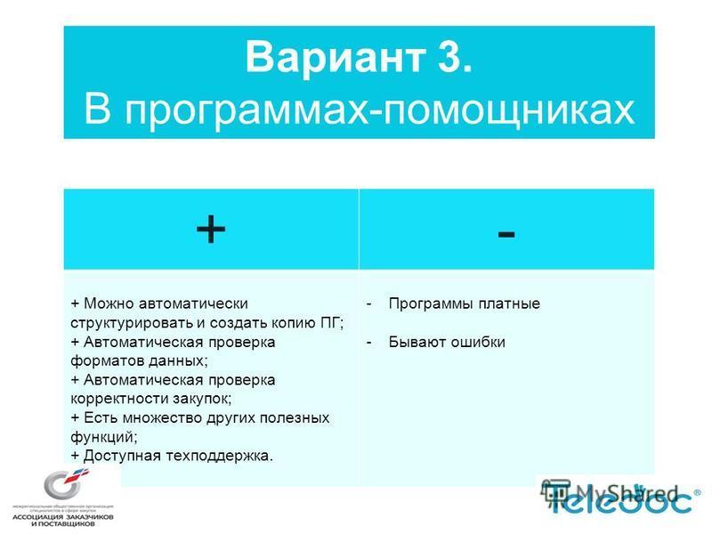 Вариант 3. В программах-помощниках +- + Можно автоматически структурировать и создать копию ПГ; + Автоматическая проверка форматов данных; + Автоматическая проверка корректности закупок; + Есть множество других полезных функций; + Доступная техподдер