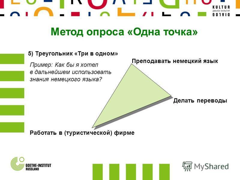 5) Треугольник «Три в одном» Преподавать немецкий язык Работать в (туристической) фирме Делать переводы Пример: Как бы я хотел в дальнейшем использовать знания немецкого языка?