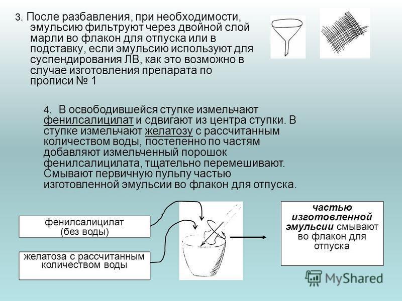 3. После разбавления, при необходимости, эмульсию фильтруют через двойной слой марли во флакон для отпуска или в подставку, если эмульсию используют для суспендирования ЛВ, как это возможно в случае изготовления препарата по прописи 1 4. В освободивш
