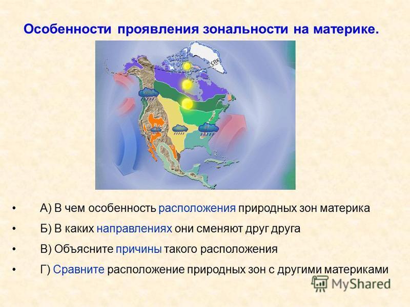 Особенности проявления зональности на материке. А) В чем особенность расположения природных зон материка Б) В каких направлениях они сменяют друг друга В) Объясните причины такого расположения Г) Сравните расположение природных зон с другими материка