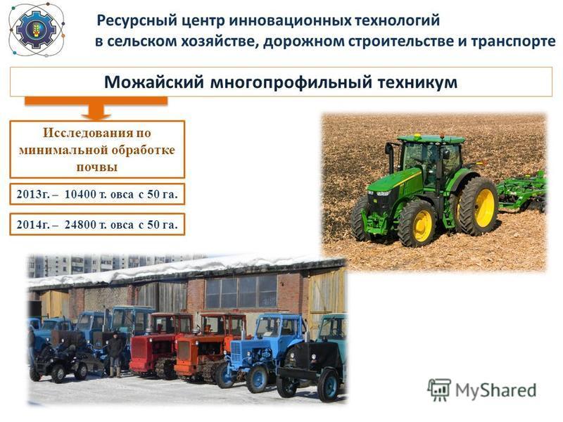 Можайский многопрофильный техникум Исследования по минимальной обработке почвы 2013 г. – 10400 т. овса с 50 га. 2014 г. – 24800 т. овса с 50 га.