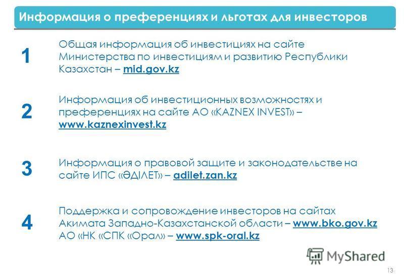 13 Информация о преференциях и льготах для инвесторов Общая информация об инвестициях на сайте Министерства по инвестициям и развитию Республики Казахстан – mid.gov.kz 1 Информация об инвестиционных возможностях и преференциях на сайте АО «KAZNEX INV