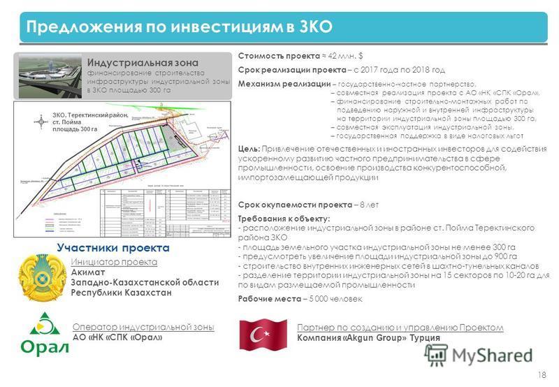 18 Предложения по инвестициям в ЗКО Индустриальная зона финансирование строительства инфраструктуры индустриальной зоны в ЗКО площадью 300 га Стоимость проекта 42 млн. $ Срок реализации проекта – с 2017 года по 2018 год Механизм реализации – государс