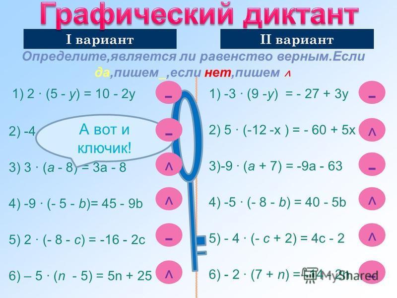 Определите,является ли равенство верным.Если да,пишем_,если нет,пишем ˄ 1) 2 · (5 - y) = 10 - 2 у 2) -4 · (15 + х) = - 60 - 4 х 3) 3 · (a - 8) = 3 а - 8 4) -9 · (- 5 - b)= 45 - 9b 5) 2 · (- 8 - c) = -16 - 2c 6) – 5 · (n - 5) = 5n + 25 1) -3 · (9 -y)