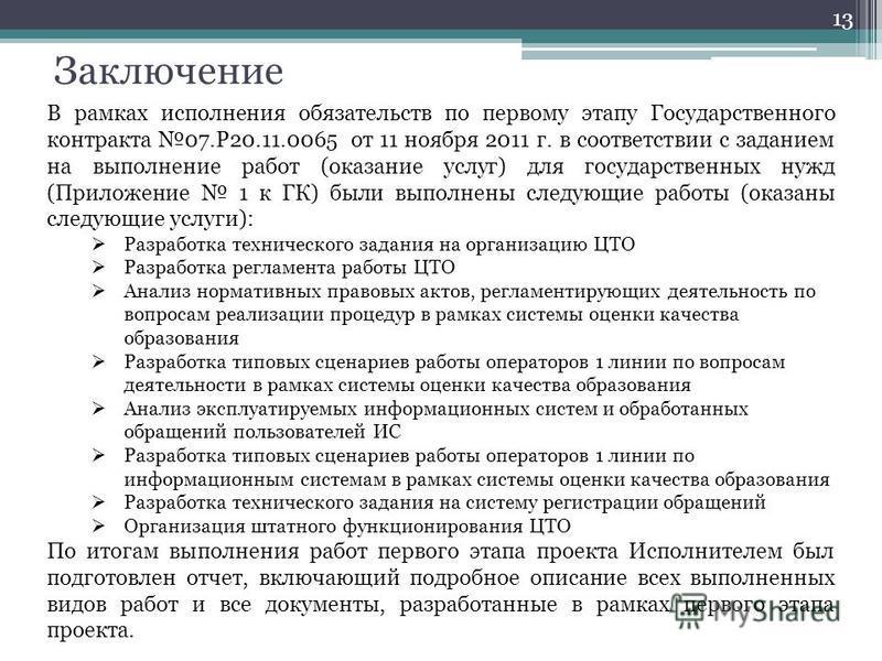 Заключение 13 В рамках исполнения обязательств по первому этапу Государственного контракта 07.Р20.11.0065 от 11 ноября 2011 г. в соответствии с заданием на выполнение работ (оказание услуг) для государственных нужд (Приложение 1 к ГК) были выполнены
