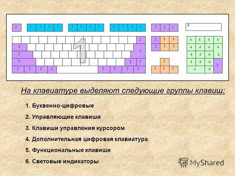 2 2 2 222 2 2222 2 2 2 2 2 2 2 2 2 22 4444 4444 4444 444 44 33 33 33 3 3 555555555555 6 На клавиатуре выделяют следующие группы клавиш: 1. Буквенно-цифровые 2. Управляющие клавиши 3. Клавиши управления курсором 4. Дополнительная цифровая клавиатура.