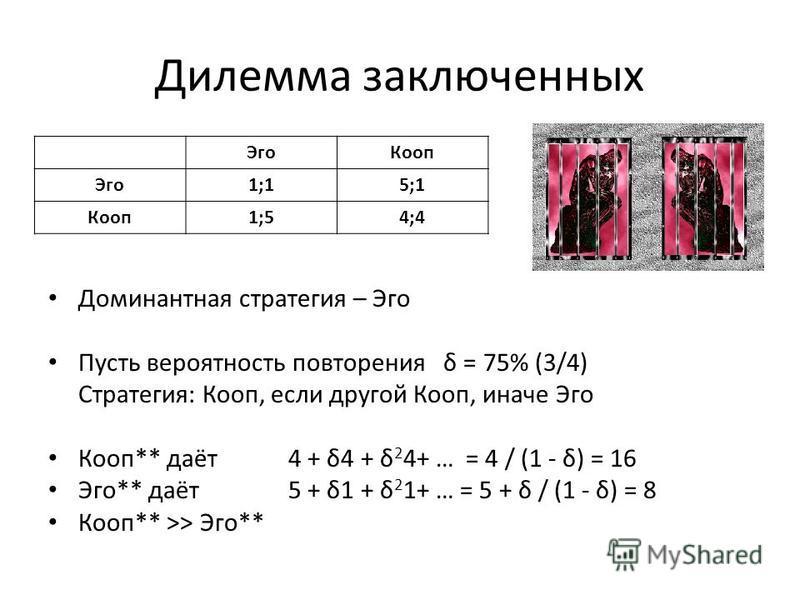 Дилемма заключенных Доминантная стратегия – Эго Пусть вероятность повторения δ = 75% (3/4) Cтратегия: Кооп, если другой Кооп, иначе Эго Кооп** даёт 4 + δ4 + δ 2 4+ … = 4 / (1 - δ) = 16 Эго** даёт 5 + δ1 + δ 2 1+ … = 5 + δ / (1 - δ) = 8 Кооп** >> Эго*