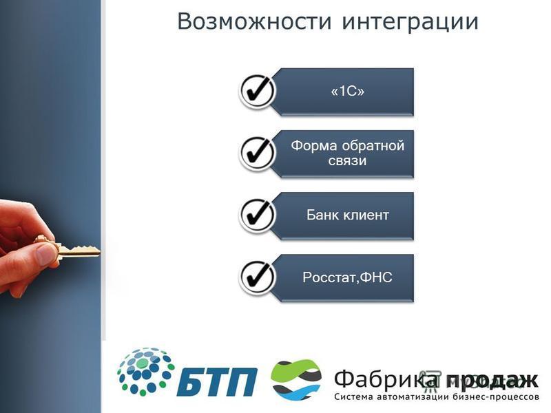 Возможности интеграции «1С» Форма обратной связи Банк клиент Росстат,ФНС