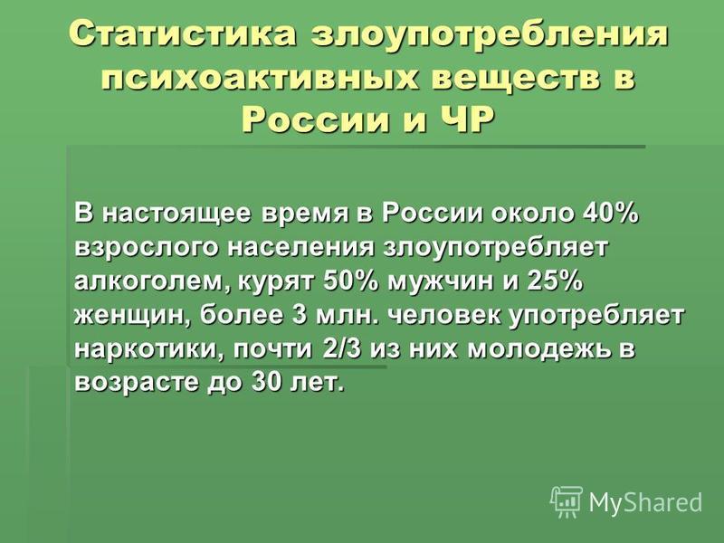 Статистика злоупотребления психоактивных веществ в России и ЧР В настоящее время в России около 40% взрослого населения злоупотребляет алкоголем, курят 50% мужчин и 25% женщин, более 3 млн. человек употребляет наркотики, почти 2/3 из них молодежь в в