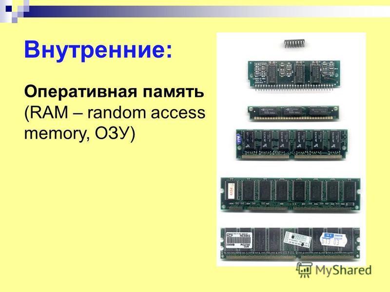 Внутренние: Оперативная память (RAM – random access memory, ОЗУ)