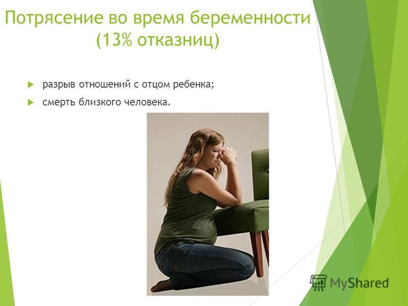Потрясение во время беременности (13% отказниц) разрыв отношений с отцом ребенка; смерть близкого человека.