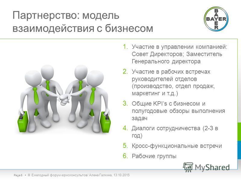 Партнерство: модель взаимодействия с бизнесом 1. Участие в управлении компанией: Совет Директоров; Заместитель Генерального директора 2. Участие в рабочих встречах руководителей отделов (производство, отдел продаж, маркетинг и т.д.) 3. Общие KPIs с б