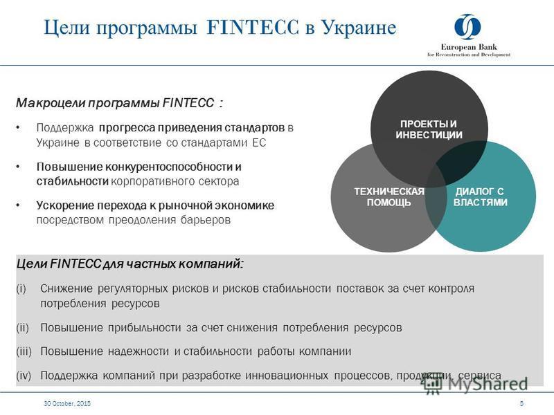 Цели программы FINTECC в Украине 30 October, 2015 5 Макроцели программы FINTECC : Поддержка прогресса приведения стандартов в Украине в соответствие со стандартами ЕС Повышение конкурентоспособности и стабильности корпоративного сектора Ускорение пер
