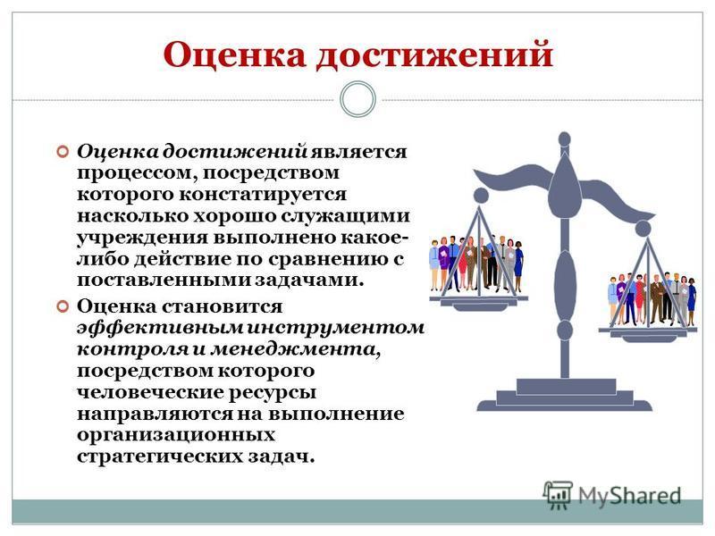 Оценка достижений Оценка достижений является процессом, посредством которого констатируется насколько хорошо служащими учреждения выполнено какое- либо действие по сравнению с поставленными задачами. Оценка становится эффективным инструментом контрол