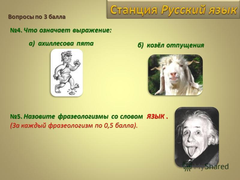 Вопросы по 3 балла 4. Что означает выражение: а) ахиллесова пята б) козёл отпущения 5. Назовите фразеологизмы со словом ЯЗЫК. (За каждый фразеологизм по 0,5 балла).