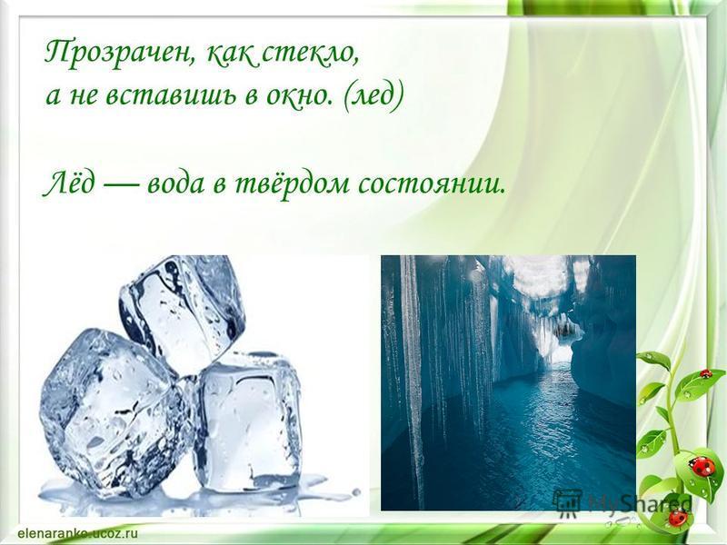 Прозрачен, как стекло, а не вставишь в окно. (лед) Лёд вода в твёрдом состоянии.