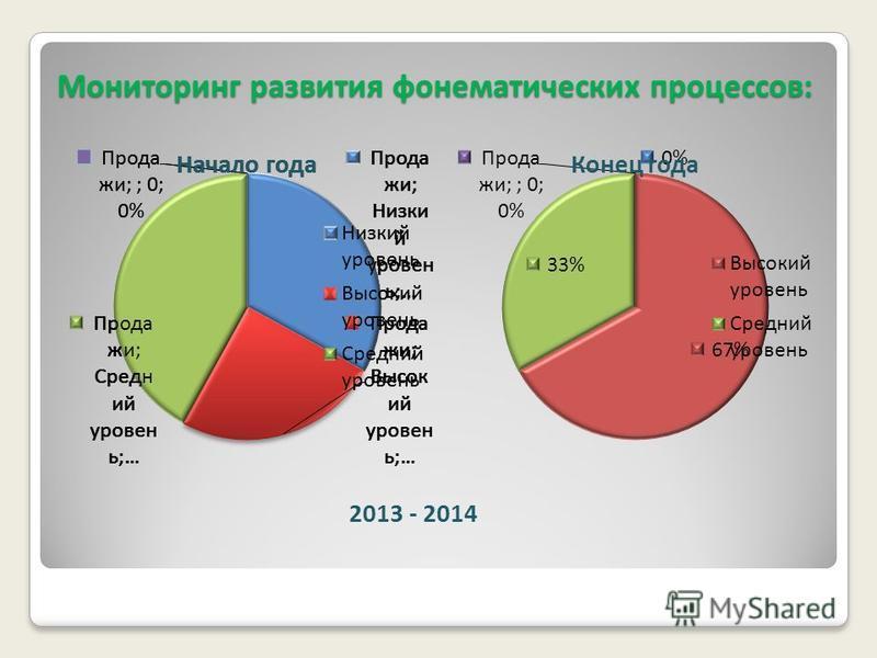 Мониторинг развития фонематических процессов: 2013 - 2014